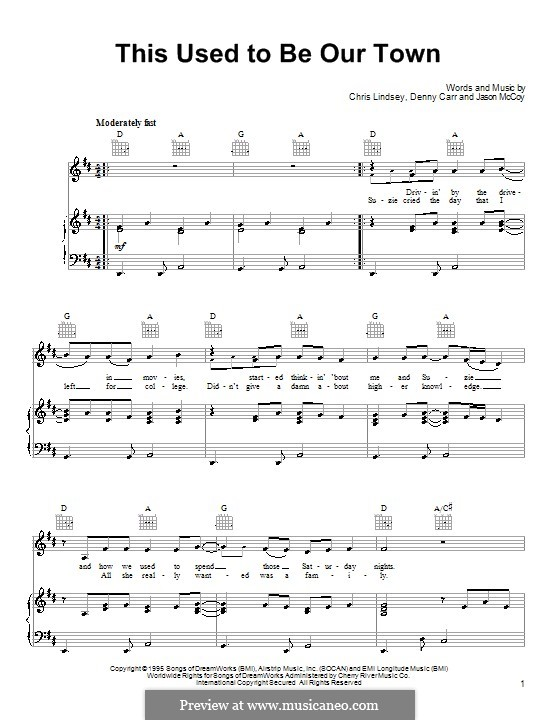 This Used To Be Our Town: For voice and piano (or guitar) by Chris Lindsey, Denny Carr