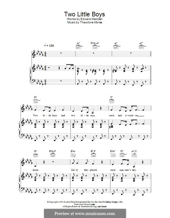 Two Little Boys (Rolf Harris): For voice and piano (or guitar) by Theodore F. Morse