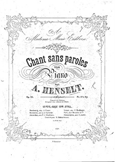 Song without Words, Op.33: Song without Words by Adolf von Henselt