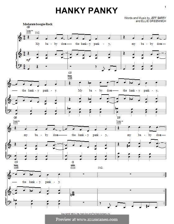 Hanky Panky (Tommy James and The Shondells): For voice and piano (or guitar) by Ellie Greenwich, Jeff Barry