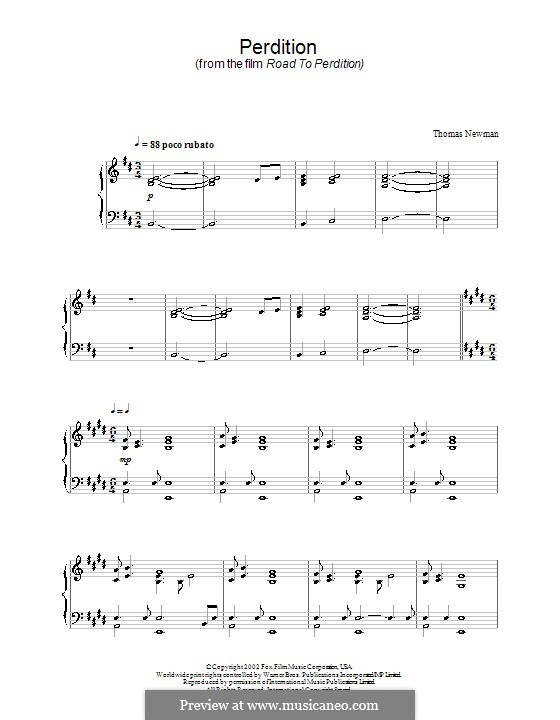 Perdition (from Road to Perdition): For piano by Thomas Newman