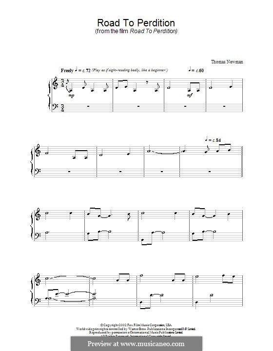 Road to Perdition: For piano by Thomas Newman