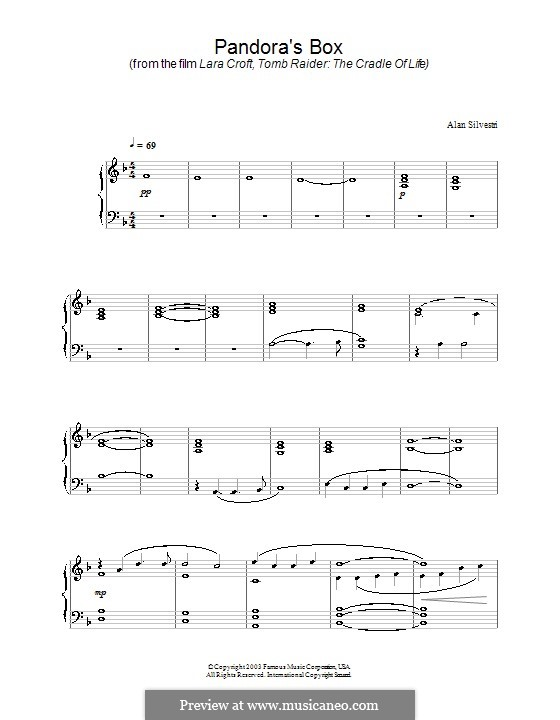Pandora's Box (from Lara Croft, Tomb Raider: The Cradle of Life): For piano by Alan Silvestri