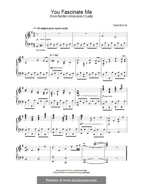 You Fascinate Me (from Intolerable Cruelty): For piano by Carter Burwell