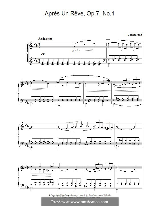 Three Songs, Op.7: No.1 Après un rêve (After a Dream), for piano by Gabriel Fauré