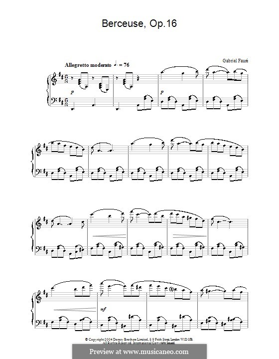 Berceuse (Lullaby) for Violin and Piano, Op.16: Version for piano by Gabriel Fauré