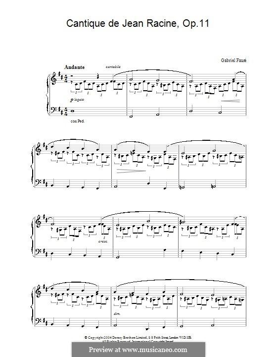 Cantique de Jean Racine, Op.11: For piano by Gabriel Fauré