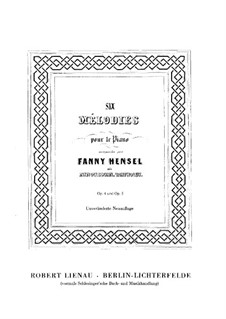 Six Melodies for Piano, Book I, Op.4: Complete set by Fanny Hensel