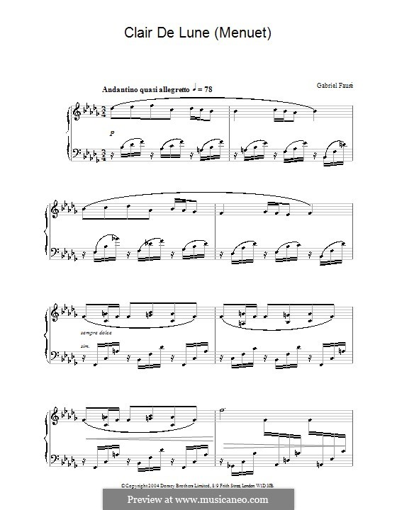 Clair De Lune Menuet By G Faur Sheet Music On Musicaneo
