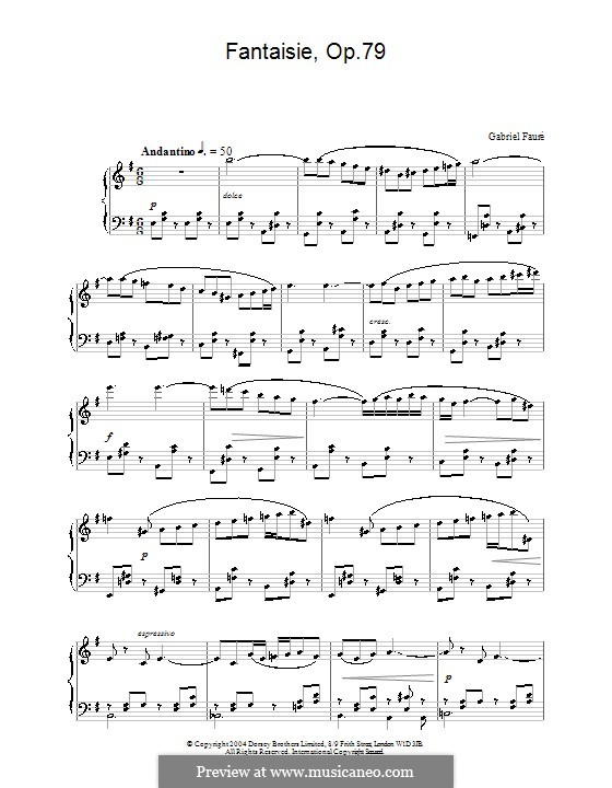 Fantasia for Flute and Piano, Op.79: Version for piano by Gabriel Fauré