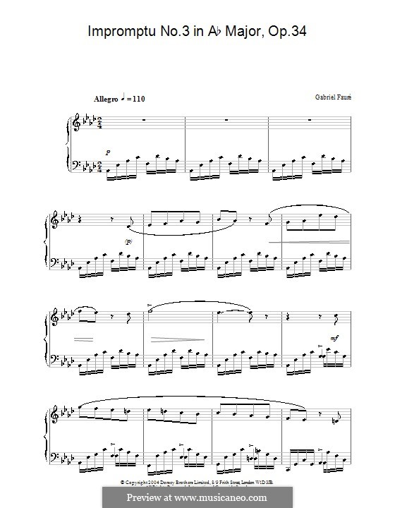 Impromptu for Piano No.3 in A Flat Major, Op.34: High quality sheet music by Gabriel Fauré