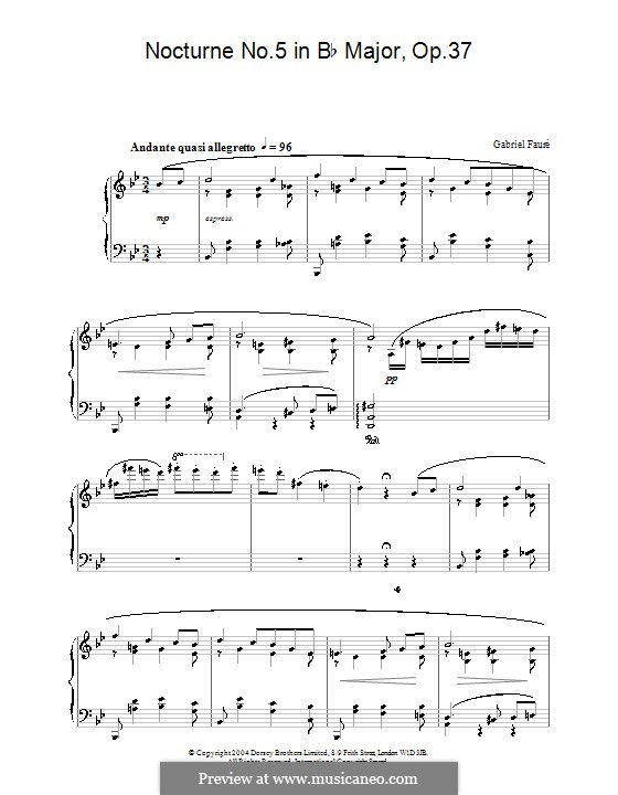 Nocturne for Piano No.5 in B Flat Major, Op.37: For a single performer by Gabriel Fauré