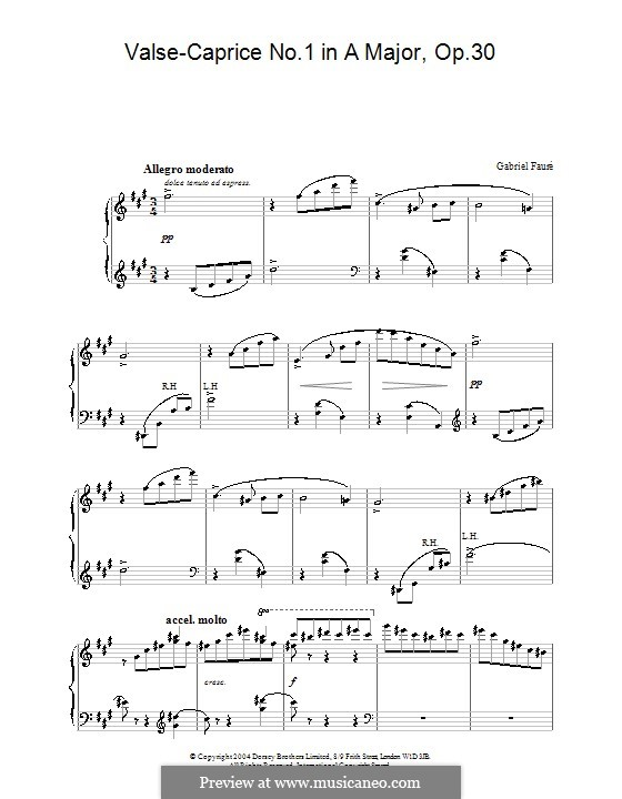 Valse Caprice No.1 in A Major, Op.30: For piano by Gabriel Fauré