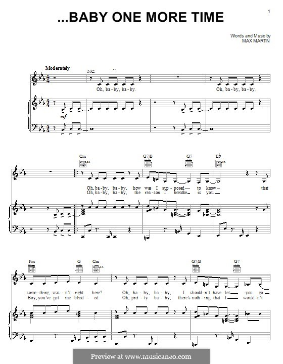 Baby One More Time (Britney Spears): For voice and piano (or guitar) by Max Martin