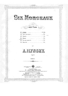 Six Pieces for Piano, Op.17: Six Pieces for Piano by Alexander Ilyinsky