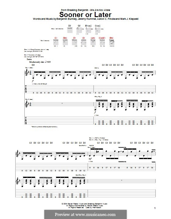 Sooner or Later (Breaking Benjamin): For guitar with tab by Aaron C. Fincke, Benjamin Burnley, Jeremy Hummel, Mark J. Klepaski