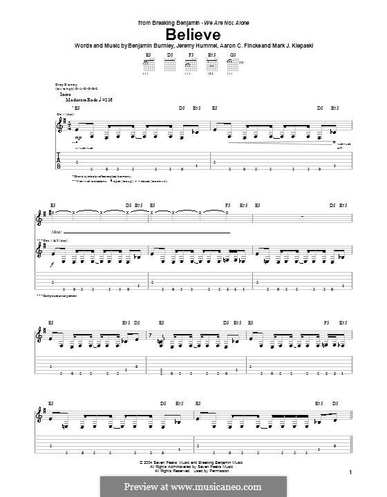 Believe (Breaking Benjamin): For guitar with tab by Aaron C. Fincke, Benjamin Burnley, Jeremy Hummel, Mark J. Klepaski
