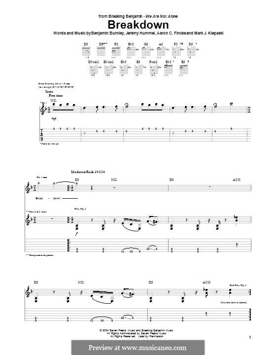 Breakdown (Breaking Benjamin): For guitar with tab by Aaron C. Fincke, Benjamin Burnley, Jeremy Hummel, Mark J. Klepaski