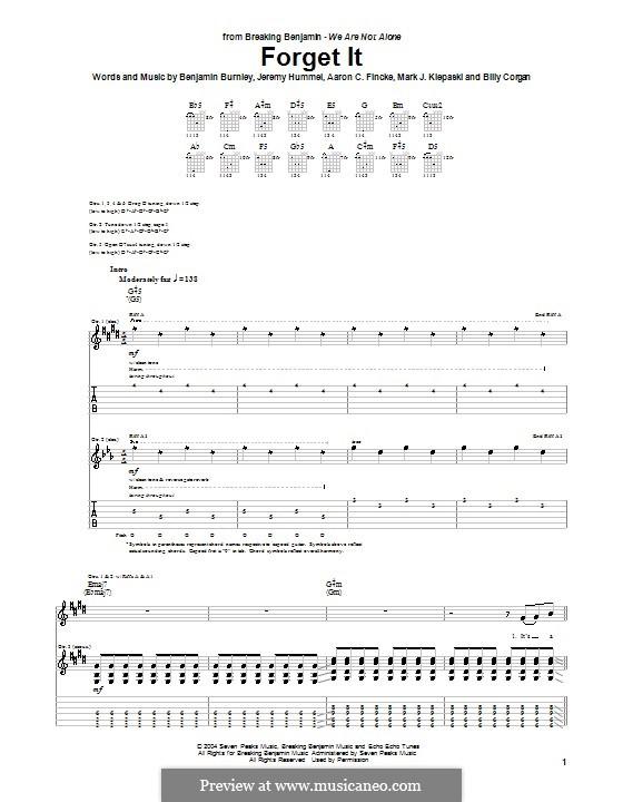 Forget It (Breaking Benjamin): For guitar with tab by Aaron C. Fincke, Benjamin Burnley, Billy Corgan, Jeremy Hummel, Mark J. Klepaski