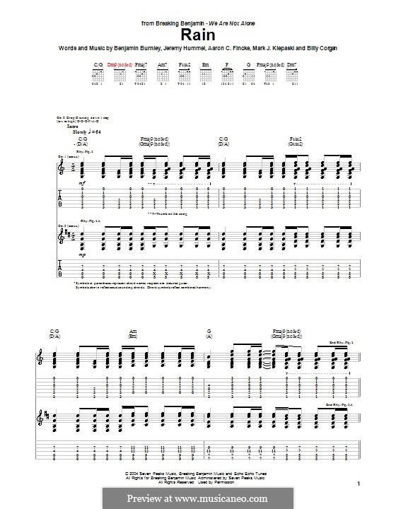Rain (Breaking Benjamin): For guitar with tab by Aaron C. Fincke, Benjamin Burnley, Billy Corgan, Jeremy Hummel, Mark J. Klepaski