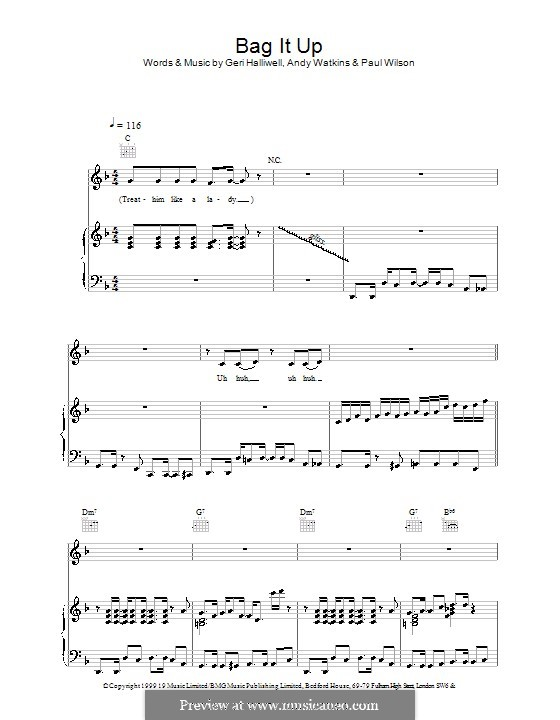 Bag It Up (Geri Halliwell): For voice and piano (or guitar) by Andy Watkins, Paul Wilson
