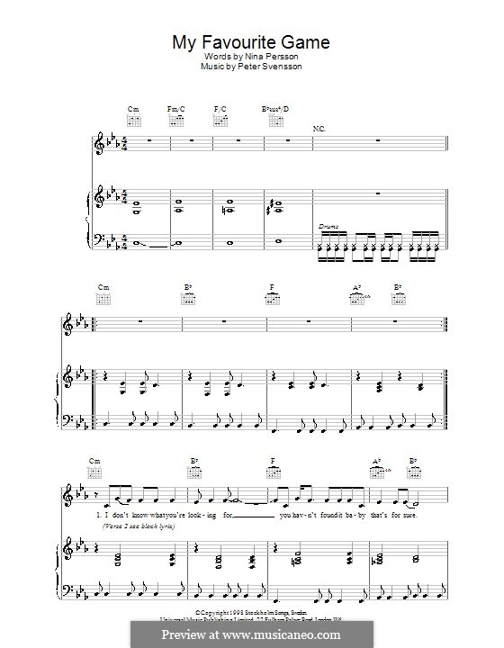 My Favourite Game (The Cardigans): For voice and piano (or guitar) by Peter Svensson
