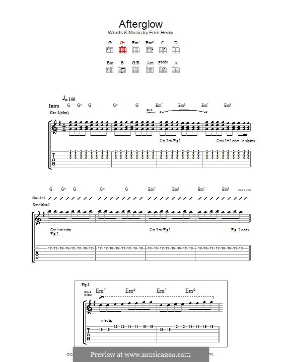 Afterglow (Travis): For guitar with tab by Fran Healy