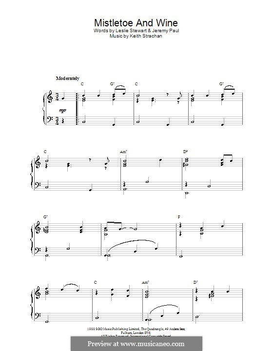 Mistletoe and Wine (Cliff Richard): For easy piano by Keith Strachan