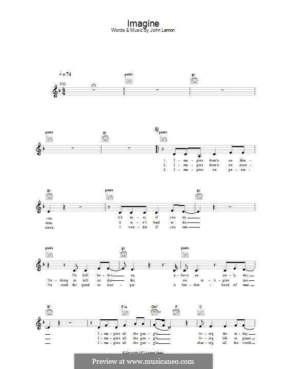 Imagine: Melody line, lyrics and chords by John Lennon