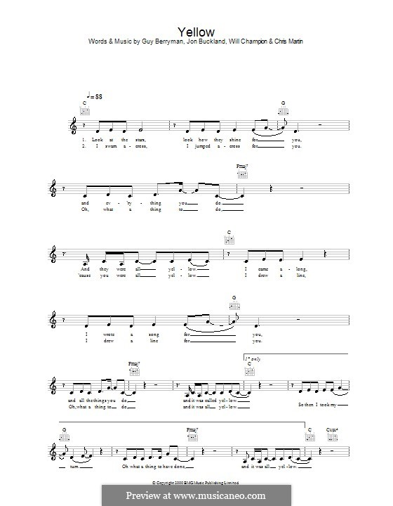 Yellow (Coldplay): Melody line, lyrics and chords (Alex Parks) by Chris Martin, Guy Berryman, Jonny Buckland, Will Champion