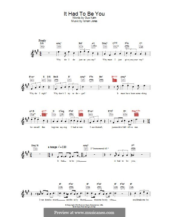 It Had To Be You (Rod Stewart): Melody line, lyrics and chords by Isham Jones