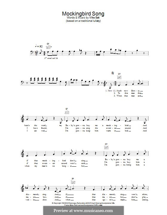Mockingbird Song (Katie Melua): Melody line, lyrics and chords by Mike Batt