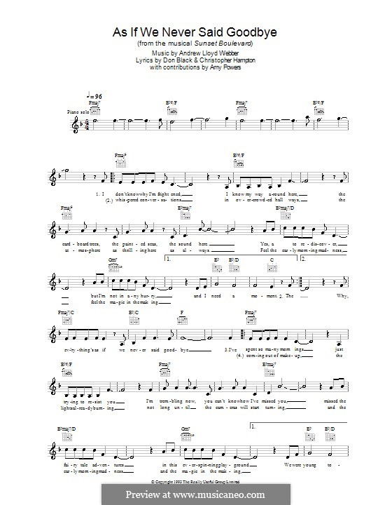 As if We Never Said Goodbye: Melody line, lyrics and chords by Andrew Lloyd Webber