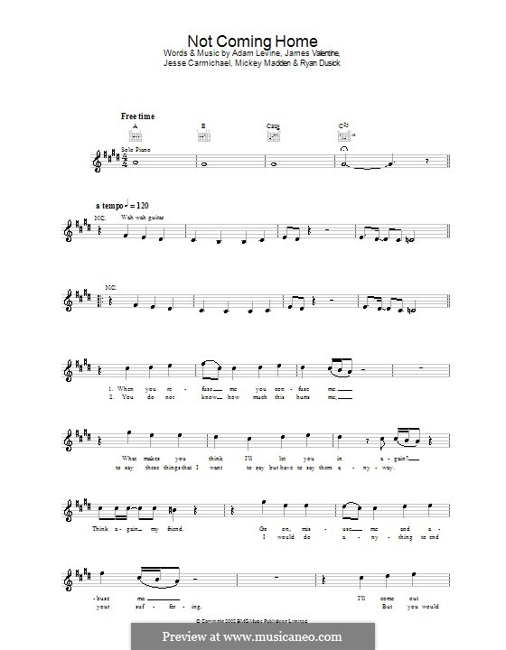 Not Coming Home (Maroon 5): Melody line, lyrics and chords by Adam Levine, Jesse Carmichael, Ryan Dusick