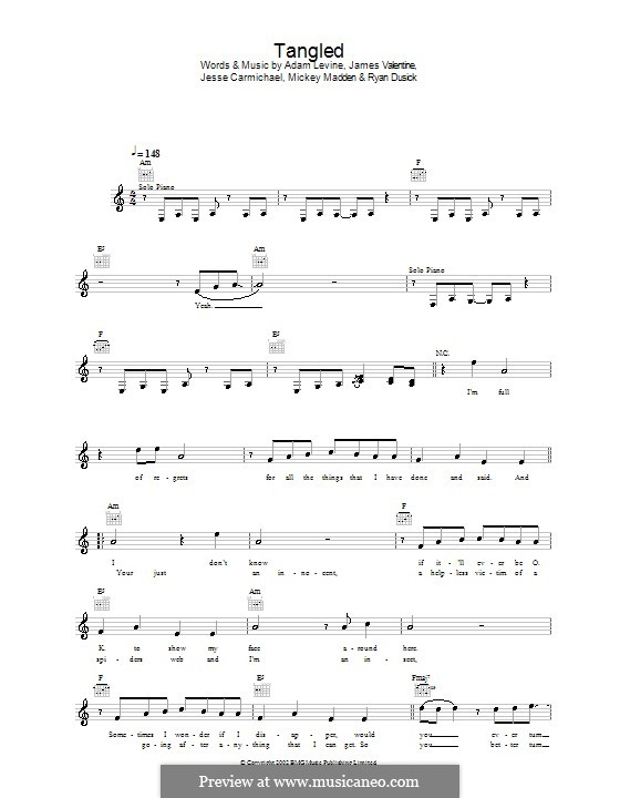 Tangled (Maroon 5) by A. Levine - sheet music on MusicaNeo