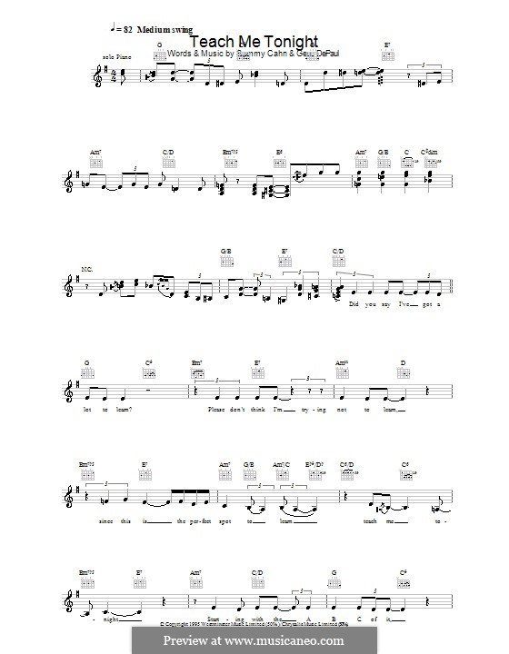 Teach Me Tonight (Frank Sinatra): Melody line, lyrics and chords by Gene de Paul