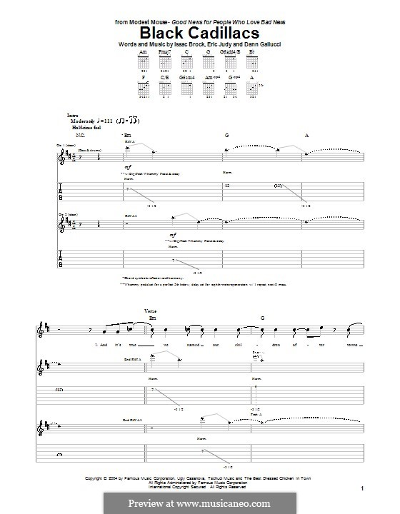 Black Cadillacs (Modest Mouse): For guitar with tab by Dann Gallucci, Eric Judy, Isaac Brock