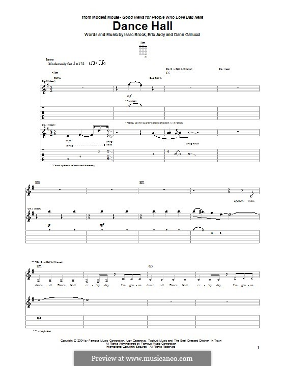 Dance Hall (Modest Mouse): For guitar with tab by Dann Gallucci, Eric Judy, Isaac Brock