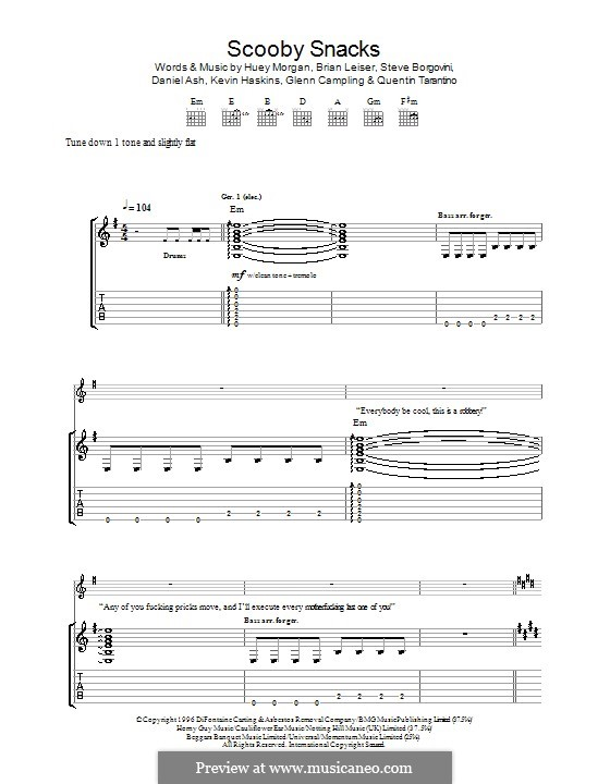 Scooby Snacks (The Fun Lovin' Criminals): For guitar with tab by Brian Leiser, Daniel Ash, Glenn Campling, Huey Morgan, Kevin Haskins, Quentin Tarantino, Steve Borgovini