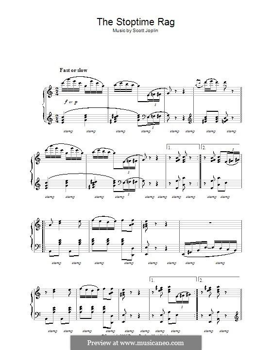 Stoptime Rag: For piano (high quality sheet music) by Scott Joplin
