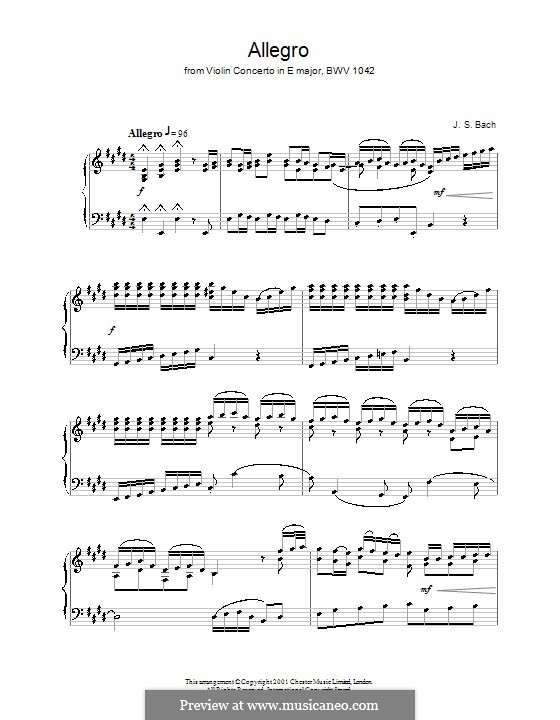 Concerto for Violin, Strings and Basso Continuo No.2 in E Major, BWV 1042: Movement I. Version for piano by Johann Sebastian Bach
