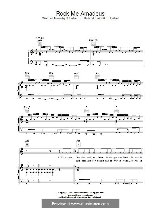 Rock Me Amadeus (Falco): For voice and piano (or guitar) by Ferdi Bolland, Johann Hölzel, Rob Bolland