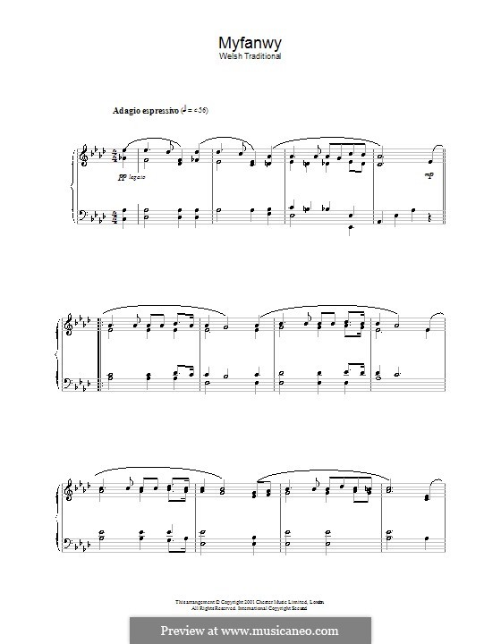 Myfanwy: For piano by folklore