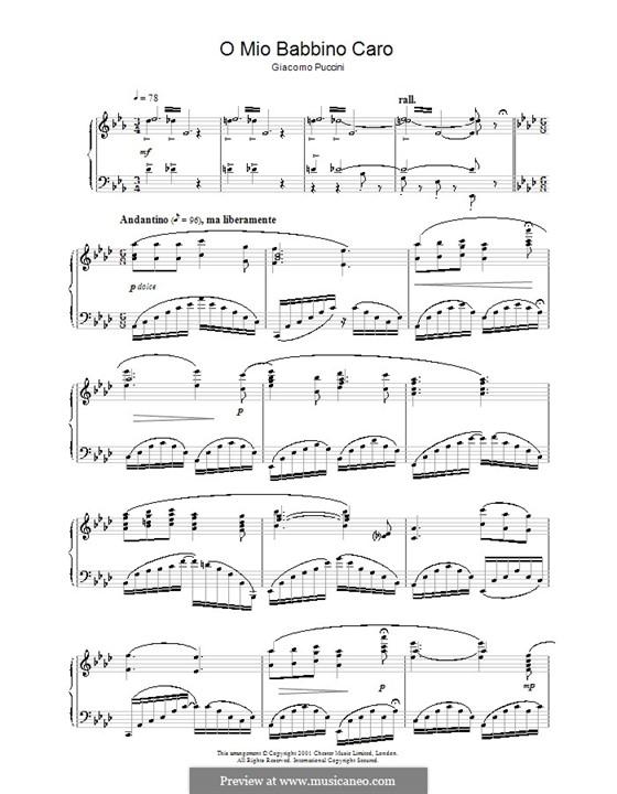 O mio babbino caro: For piano (A Flat Major) by Giacomo Puccini