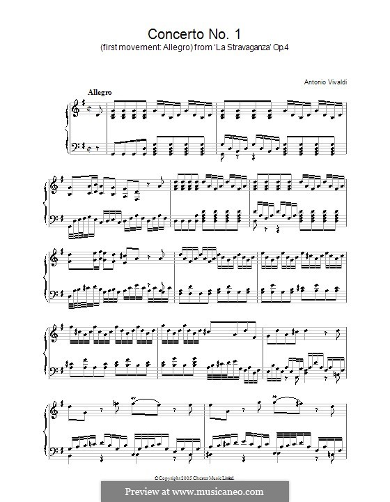 Concerto for Violin and Strings No.1 in B Flat Major, RV 383a Op.4: Movement I. Version for piano by Antonio Vivaldi