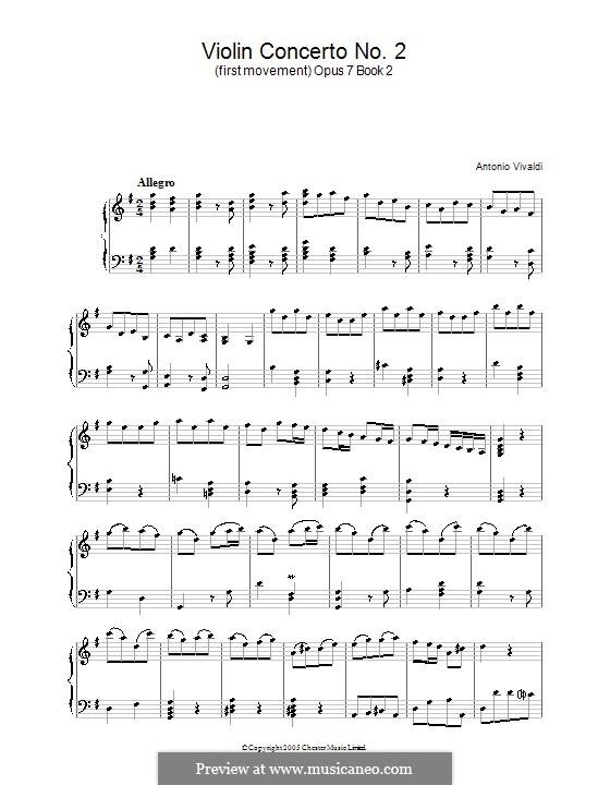 Concerto for Violin and Strings No.2 in G Major, RV 299 Op.7: Movement I. Version for piano by Antonio Vivaldi