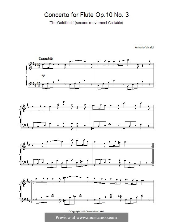 Six Flute Concertos for Flute, Strings and Cembalo, Op.10: Concerto No.3 'The Goldfinch' – Movement II. Version for piano, RV 428 by Antonio Vivaldi