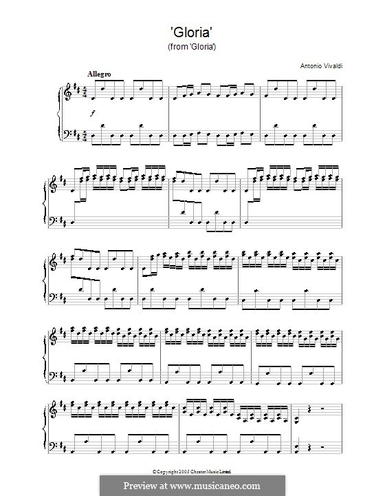 Gloria, RV 589: Movement I 'Gloria', for piano by Antonio Vivaldi