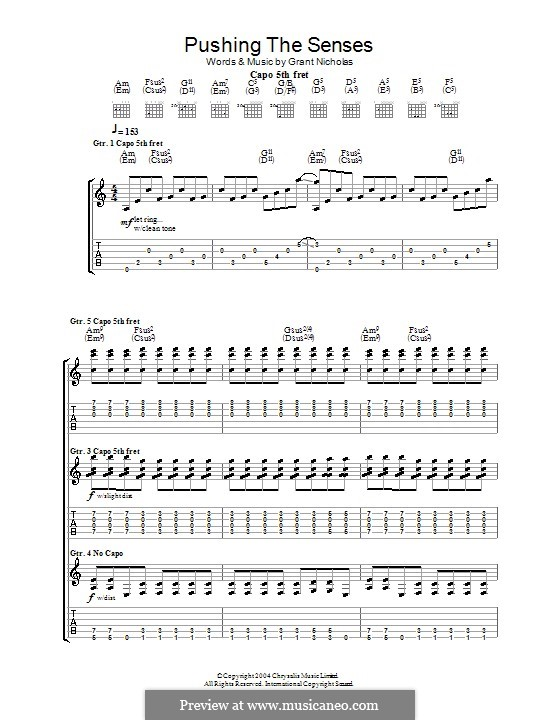 Pushing the Senses (Feeder): For guitar with tab by Grant Nicholas