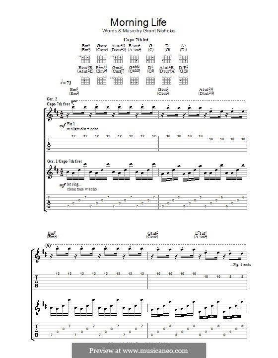 Morning Life (Feeder): For guitar with tab by Grant Nicholas